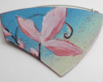 Passionflower Enamel Brooch or Pendant