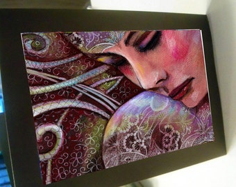 greeting card print of original art - girl  zentangle