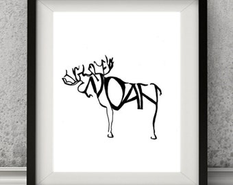 Personalized Moose Home Decor Art Print, Personalized Name animal.
