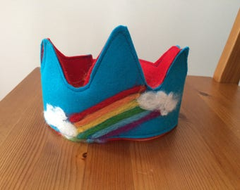 Wool felt crown - birthday crown -rainbow - personalized - name -custom made - dress up - Waldorf - needle felted
