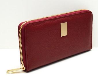 "Womens wallet ""Kira"" in dark red, genuine leather, wallet, purse, portmonee, portemonnaie, handmade, new"