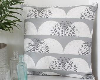 Cloud Print Cushion Cover Grey White 'Cumulus' Pillow Sham