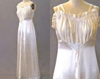 Vintage 1940s Gown, 40s Dress, 1940s Ivory Satin Wedding Dress, Bias Cut Dress, Small