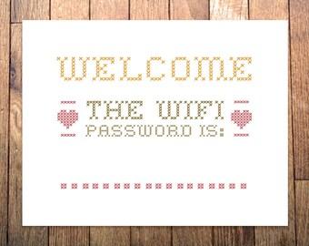 "Wifi Password Welcome Sign - Printable - 8.5x11"" - Home Decor"