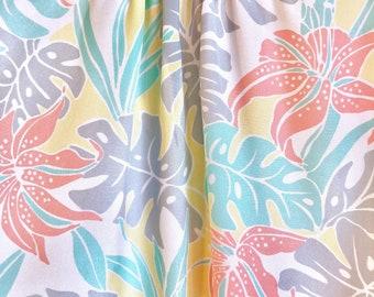 Pastel Vintage Botanical Blouse / Tropical Leaf Blouse / Banana Leaf Pastel Top