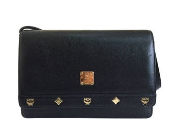 MCM Vintage Black Textured Leather Shoulder Bag