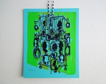 KAMEEN #141 | schrulligen Kunstwerk Siebdruck in schwarz und leuchtendem Grün auf himmelblau (8 x 10)