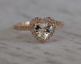 Heart engagement ring. 1.35ct white sapphire 14k rose gold engagement ring diamond ring by Eidelprecious