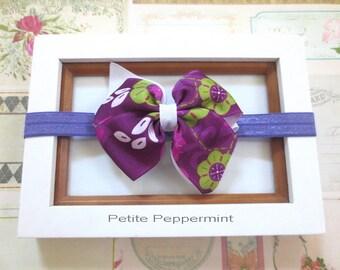 Purple Baby headband, baby girl headband, newborn headband, toddler headband, Baby Bow Headband, Purple Girl Hair Bow, Infant Headband