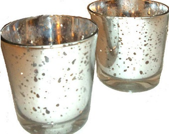 SALE...Pair of Silver Mercury Glass Candle Holders