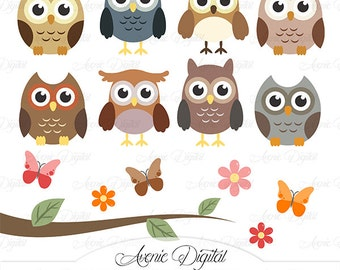 Cute Owl Clipart. Scrapbooking printables, Baby owls clip art set for Commercial Use. Woodland animals with tree branch