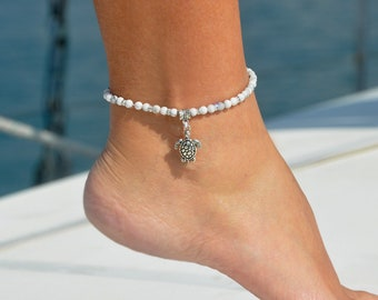 Turtle Jewelry | Beach Foot Jewelry | Anklet with Turtle Charm | Ocean Anklet | Charm Anklet | Foot Bracelet | Turtle Anklet | Ocean Jewelry