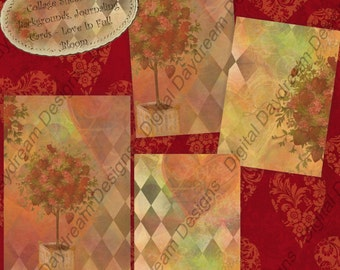 Instant  Download Digital Printable Collage Sheet - ATC ACEO Backgrounds, 2.5 x 3.5 size - Valentine's Day, Love In Full Bloom