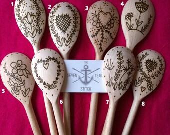 Hand Burnt Folk Art Inspired Spoons