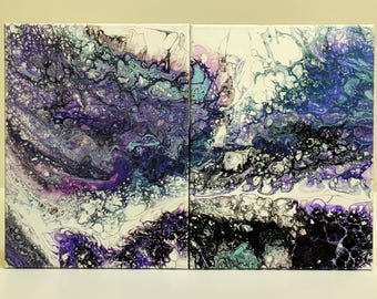 "2 pc Original Abstract Acrylic Fluid Art Painting on canvas 12"" x 16"" each pc  24"" x 16"" total"