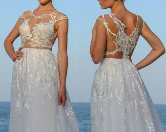 Beach wedding dress, Summer wedding gown, Country wedding dress, Alternative wedding gown, Embroidered floral wedding dress, Bridal gown