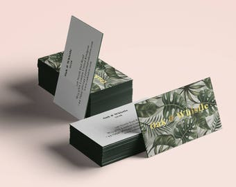 Tropical Business Cards, Custom Business Card Template, Palm Leaf Green, Premade Business Card, Calling Card, Business Card Printable, Gold