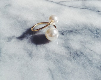 Double Pearl Adjustable Gold Ring - Double Pearl Ring, Two Pearl Ring, Adjustable Pearl Ring, Pinky Ring, Midi Ring, Bridesmaid Gift