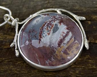 Sonoran Jasper Pendant, earth scene, sacred earth, branch pendant, boho, rustic, woodland pendant, nature inspired, organic, rare jasper