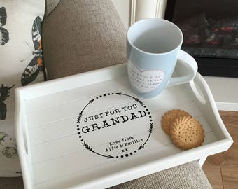 Personalised Sofa Arm Rest Tray, Couch Tray, Father's Day Gift, Also available in Grey, Other titles available