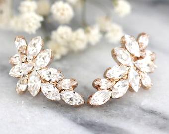 Bridal Rose Gold earrings, Swarovski Crystal Climbing earrings,Bridal Cluster Studs,Swarovski Bridal earrings,White Crystal Vintage Earrings