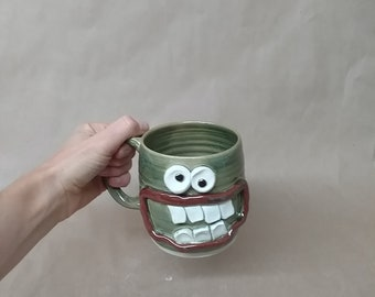 Dieter's Coffee Cup.  Diet Mug. Extra Large 16 Ounces Pottery Tankard. Hot Green Tea Cup. Entertaining Gift Ideas for Dieting Face Mug.
