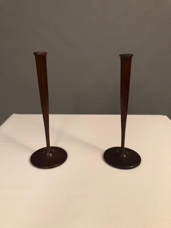 Mid-Century thin teak candle holder.