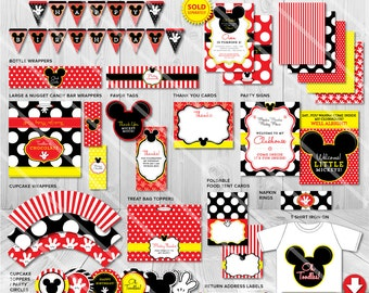 Mickey Mouse Birthday Party Pack with Invitation Photo