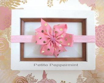 Pink Gold Dot baby headband, newborn headband, toddler headband, baby headband bow, Pink Gold Baby Bow, Girl Headband, girl hair bow