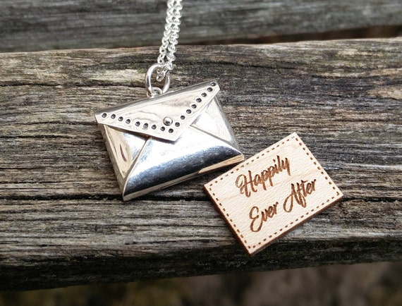 Personalized Envelope Necklace. CHOOSE YOUR WORDS. Sterling Silver. Wedding, Bridesmaid Gift, Anniversary, Birthday. Locket, Engraved