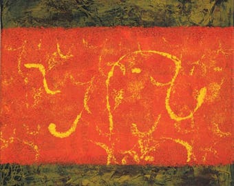 abstract oil painting brown orange yellow /fait hand