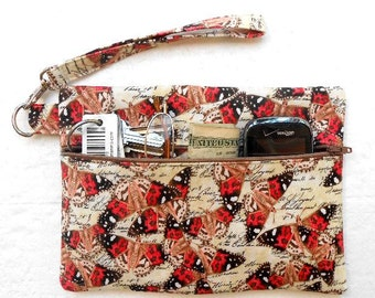 Butterfly Print Wristlet, Black Coral Clutch, Womens Small Purse, Front Zippered Wallet, Camera or Phone Bag, Makeup or Gadget Holder