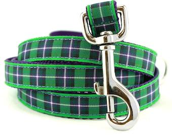 Plaid Dog Leash, Purple & Green Tartan, Hibernian Tartan