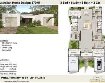 270KR | 4 Bed or 3 Bed + Study + 3 Bathooms + 2 Car Garage - Concept house plans For Sale |  270.0 m2