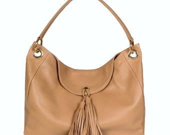 Leather Hobo Bag, Beige Leather Hobo Bag, Women's Leather Hobo Purse KF-370