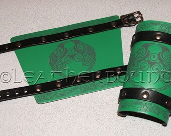 Leather Bracers in Green and Black with engraved Norse Odin's Ravens image