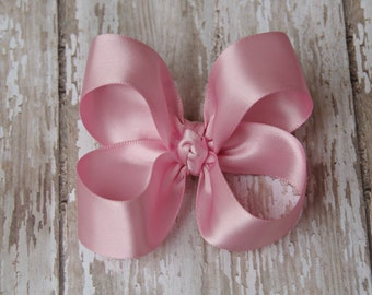 Pink Satin Toddler Hair Bow 3 Inch Alligator Clip Baby Hairbow Christmas Special Occasion
