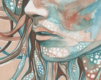 EARTH WOMAN 8.5 x 11 print of detailed watercolour, rust earth tones with hints of turquoise teal olive green, psychedelic organic portrait