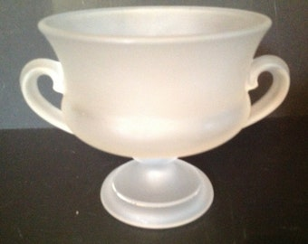 vintage frosted glass compote