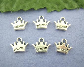 10 Pieces Antique Silver Princess Crown Charms