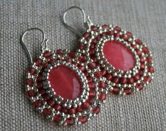 pink earrings, victorian earrings, beaded earrings, jade earrings, seed beads earrings, beadwoven earrings, beadwork, dangle earrings