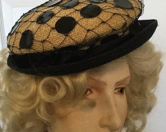 Vintage Schiaparelli 1950's Straw Hat Original Summertime Sweetie