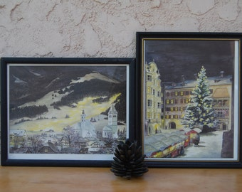Austria Lithographs Signed Rietmeyer Set of 2 Vintage 1985 Ltd Edition Prints Winter in Innsbruck Kriskindlmart Village Christmas Tree