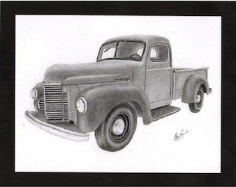 Pencil drawing of a 1949 International