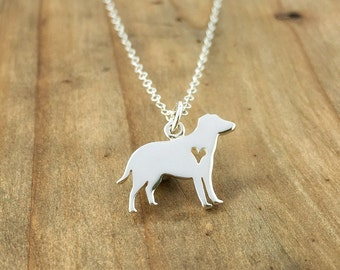 Labrador dog necklace,pet jewelry, dog jewelry, dog necklace, pet necklace, heart, gift for her, sterling silver, pet lover, pet loss