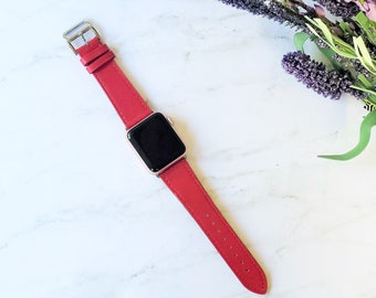 Apple Watch Band 38mm Leather, 42mm, iWatch Band Red, Apple Watch Bands for Men and Women, Hermes iWatch Strap, Apple Watch Strap