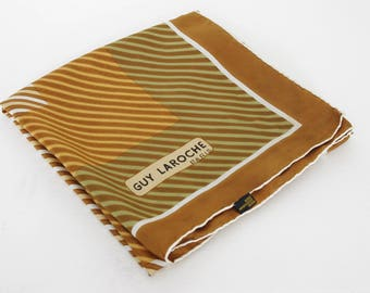 Guy Laroche Paris 1970s Vintage Striped Pure Silk Hand Rolled Edge Scarf