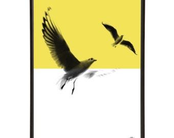 Minimal Beach Seagulls Graphic Pop Art Print - Retro Travel Holiday Vacation Seaside Birds Flight Interior Decor Design Home Prints Sand