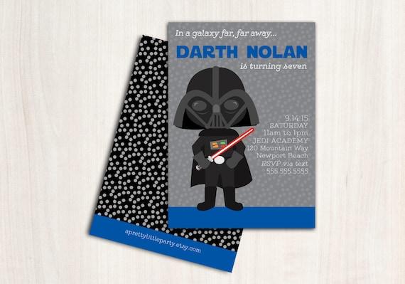 Darth Blue Birthday Invitation - Vader Star Party Invite - New Star Wars Party Supplies