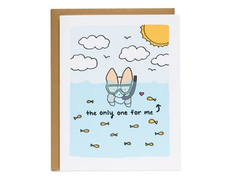 Vous êtes le seulement un pour moi poissons carte, carte de Saint Valentin, Corgi carte, relation, carte d'anniversaire, la Saint-Valentin, marié, poissons dans la mer